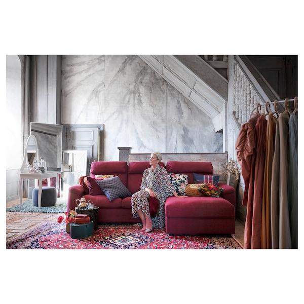 LIDHULT 3 személyes kinyitható kanapé, fekvőfotellel/Lejde vörösbarna