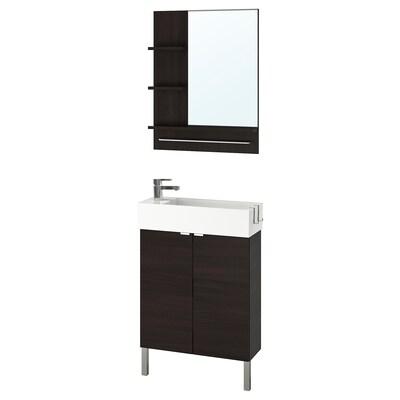 LILLÅNGEN / LILLÅNGEN fürdőszoba bútor, 5 db fekete-barna/ENSEN csap 62 cm 60 cm 27 cm 89 cm