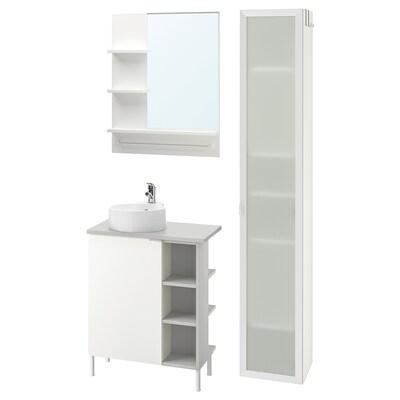 LILLÅNGEN/VISKAN / GUTVIKEN fürdőszoba bútor kombináció, 9 db fehér/szürke OLSKÄR csap 62 cm 40 cm 49 cm 89 cm