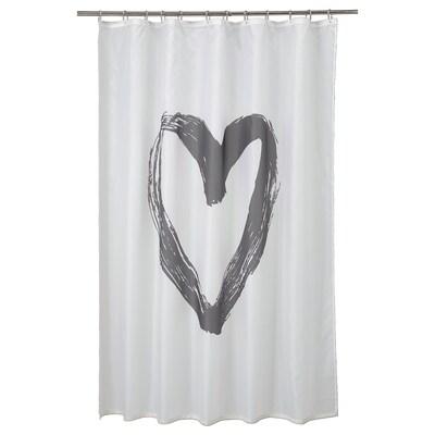 LYKTFIBBLA Zuhanyfüggöny, fehér/szürke, 180x200 cm