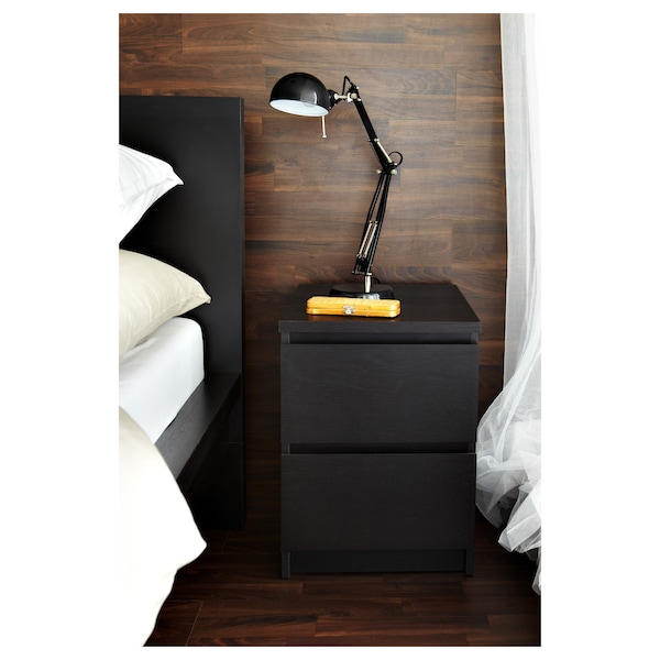 MALM 2-fiókos szekrény, fekete-barna, 40x55 cm