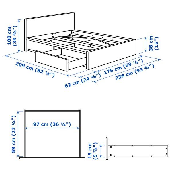 MALM Ágykeret, magas, 2 tárolódobozzal, fehérre pácolt tölgy furnér/Lönset, 160x200 cm