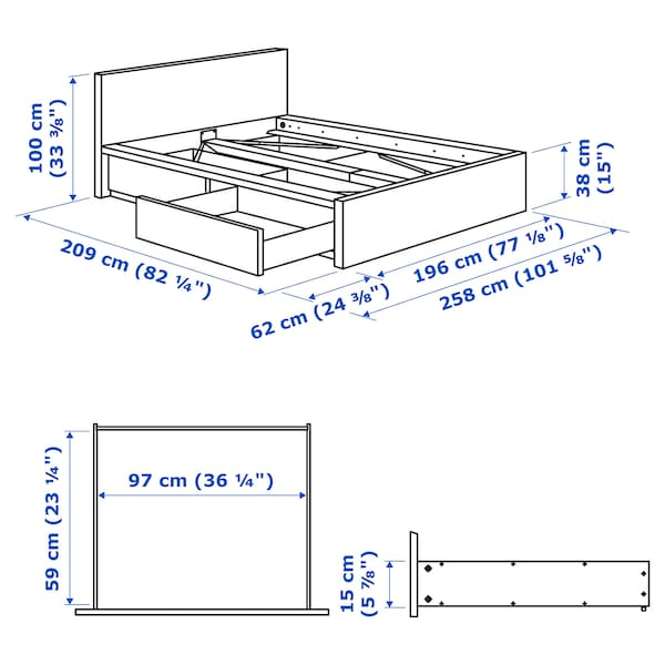MALM Ágykeret, magas, 2 tárolódobozzal, fekete-barna, 180x200 cm