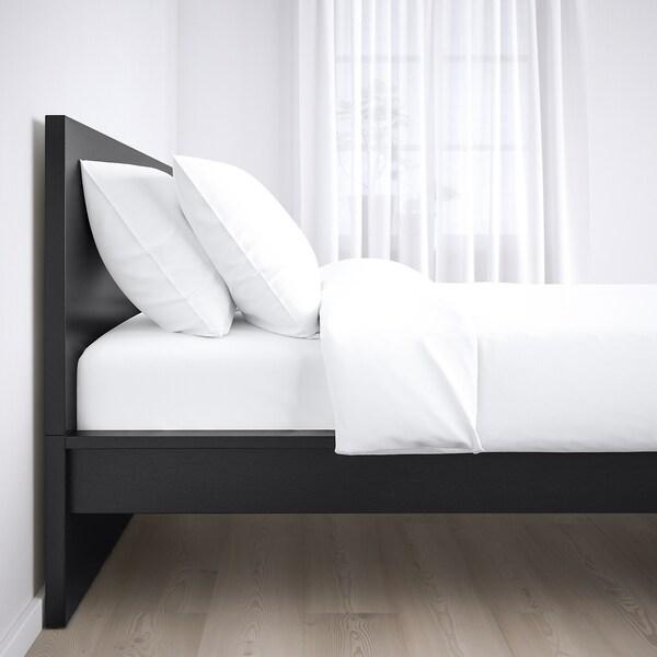MALM Ágykeret, magas, fekete-barna/Leirsund, 160x200 cm