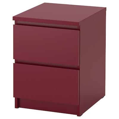 MALM 2-fiókos szekrény sötétpiros 40 cm 48 cm 55 cm 32 cm 43 cm