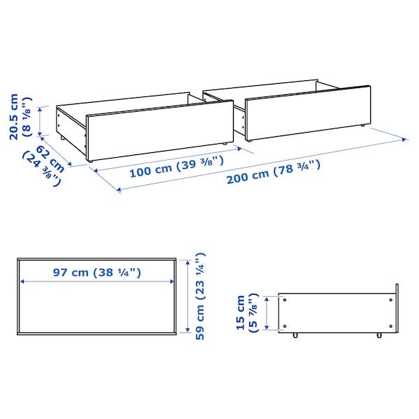 MALM Tár.doboz magas ágyhoz, fehér, 200 cm