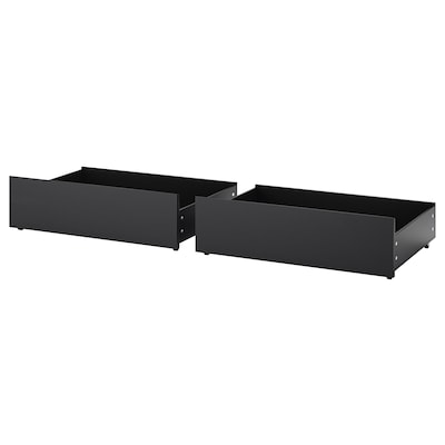 MALM Tár.doboz magas ágyhoz, fekete-barna, 200 cm