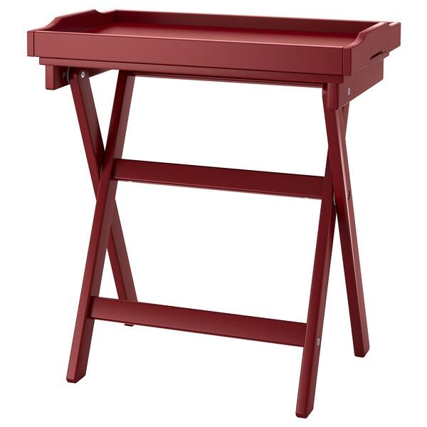 MARYD Tálca-asztal, sötétpiros, 58x38x58 cm