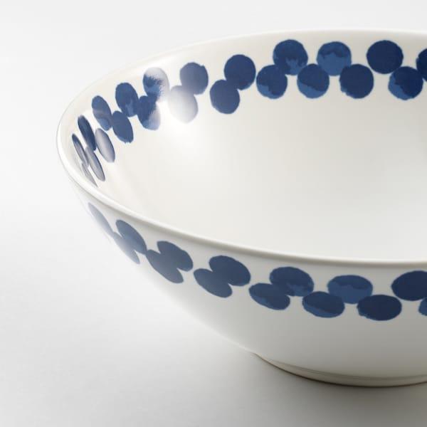 MEDLEM tál fehér/kék/mintázott 7 cm 19 cm