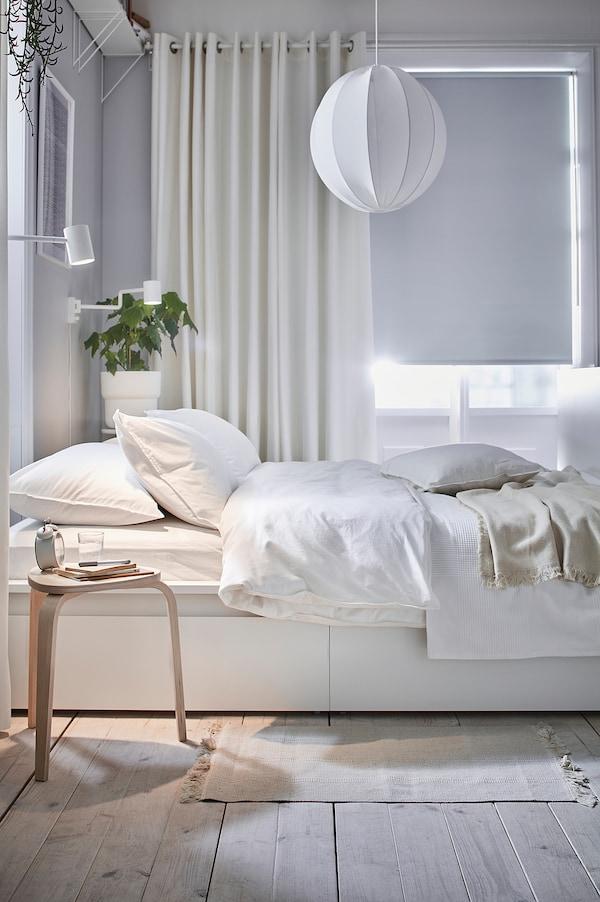 MERETE Sötétítőfüggöny, 1 pár, fehér, 145x300 cm