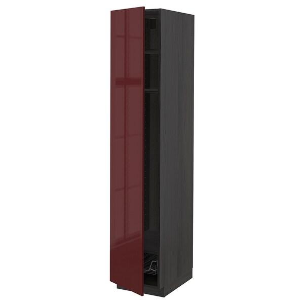 METOD Állószekr polcokkal/drótkosárral, fekete Kallarp/mfényű sötét vörösesbarna, 40x60x200 cm