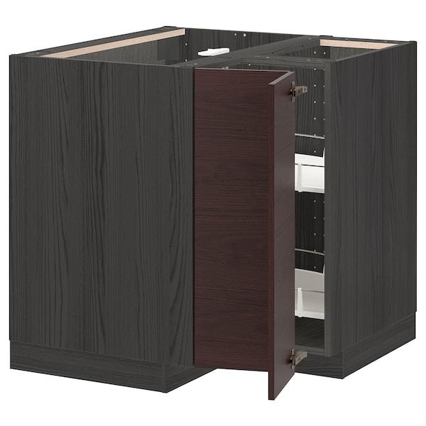 METOD Alsó sarokszkr+frg.tár, fekete Askersund/sötétbarna kőris hatású, 88x88 cm
