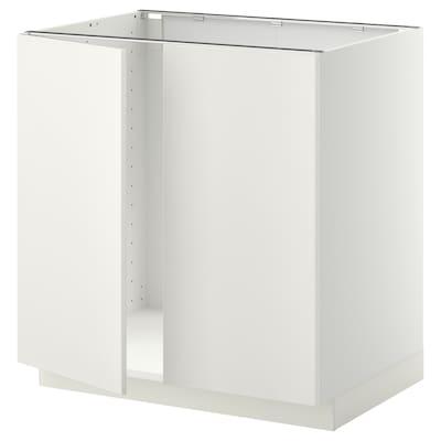 METOD Alsószekrény mosogatóhoz 2 ajtóval, fehér/Veddinge fehér, 80x60 cm