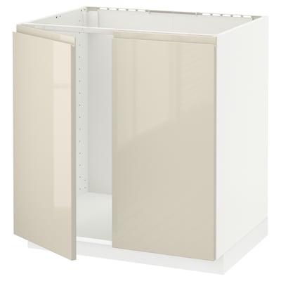 METOD Alsószekrény mosogatóhoz 2 ajtóval, fehér/Voxtorp magasfényű világos bézs, 80x60 cm