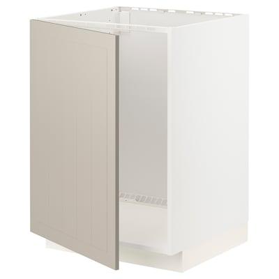 METOD Alsószekrény mosogatóhoz, fehér/Stensund bézs, 60x60 cm