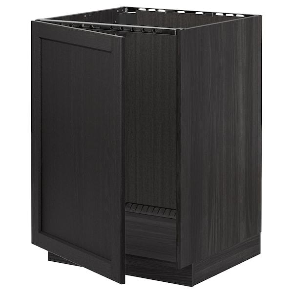 METOD Alsószekrény mosogatóhoz, fekete/Lerhyttan feketére pácolt, 60x60 cm