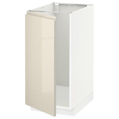 METOD Alsószekrény msgthoz/hulladékgyűjtő, fehér/Voxtorp magasfényű világos bézs, 40x60 cm