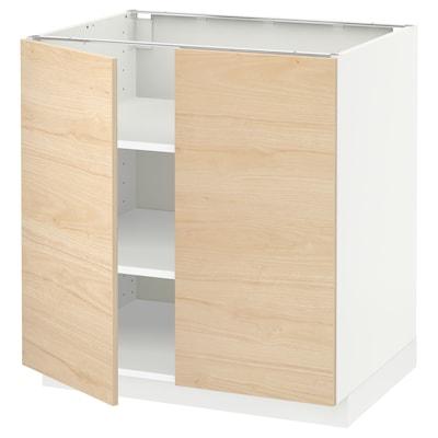 METOD Alsószekrény+polcok/2 ajtó, fehér/Askersund világoskőris hatású, 80x60 cm