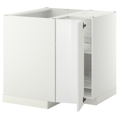 METOD Alsószekrény sarokba+forgó tároló, fehér/Ringhult fehér, 88x88 cm
