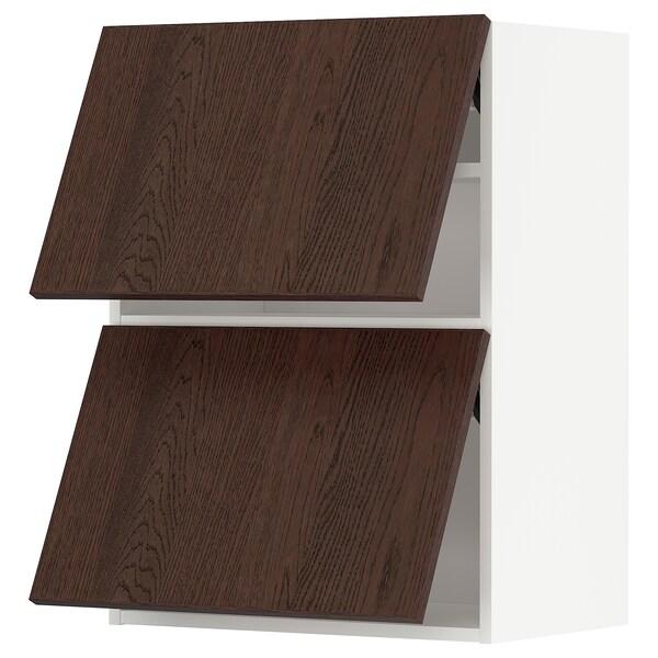 METOD Faliszekrény+2 érintésre nyíló ajtó, fehér/Sinarp barna, 60x80 cm