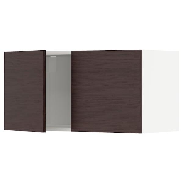 METOD Faliszekrény+2ajtó, fehér Askersund/sötétbarna kőris hatású, 80x40 cm