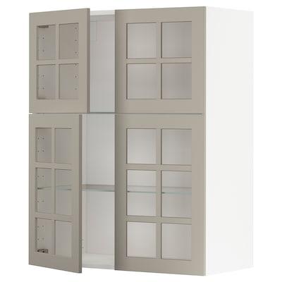 METOD Faliszekrény+polcok/4 üvegajtó, fehér/Stensund bézs, 80x100 cm