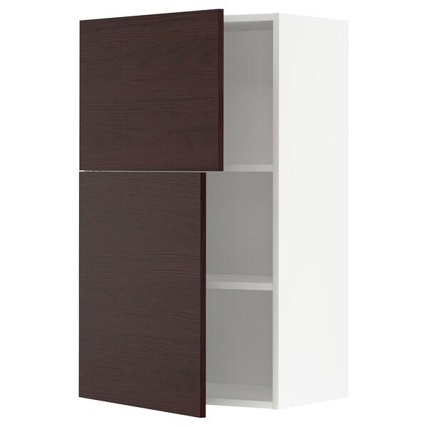 METOD Faliszekrény polcokkal/2 ajtóval, fehér Askersund/sötétbarna kőris hatású, 60x100 cm
