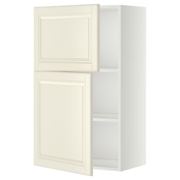 METOD Faliszekrény polcokkal/2 ajtóval, fehér/Bodbyn törtfehér, 60x100 cm