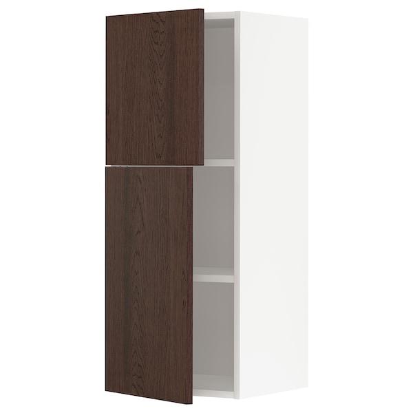 METOD Faliszekrény polcokkal/2 ajtóval, fehér/Sinarp barna, 40x100 cm
