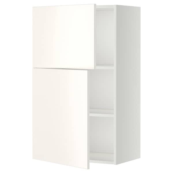 METOD Faliszekrény polcokkal/2 ajtóval, fehér/Veddinge fehér, 60x100 cm