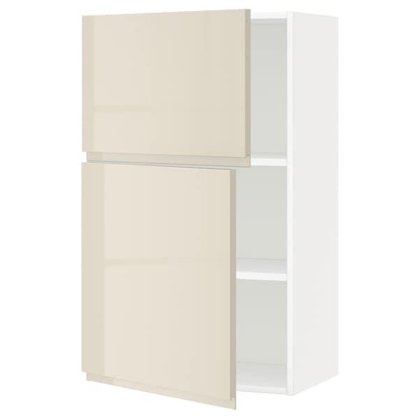 METOD Faliszekrény polcokkal/2 ajtóval, fehér/Voxtorp magasfényű világos bézs, 60x100 cm