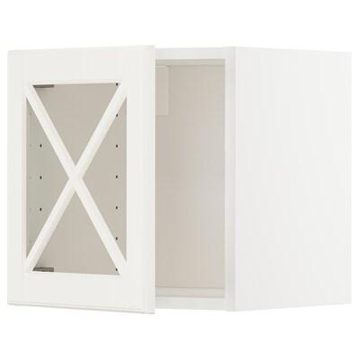 METOD Faliszekrény+üvegajtó, fehér/Bodbyn törtfehér, 40x40 cm
