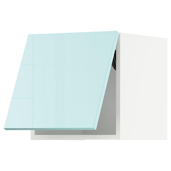 METOD Faliszekrény, vízszintesen nyíló, fehér Järsta/mfényű világostürkiz, 40x40 cm