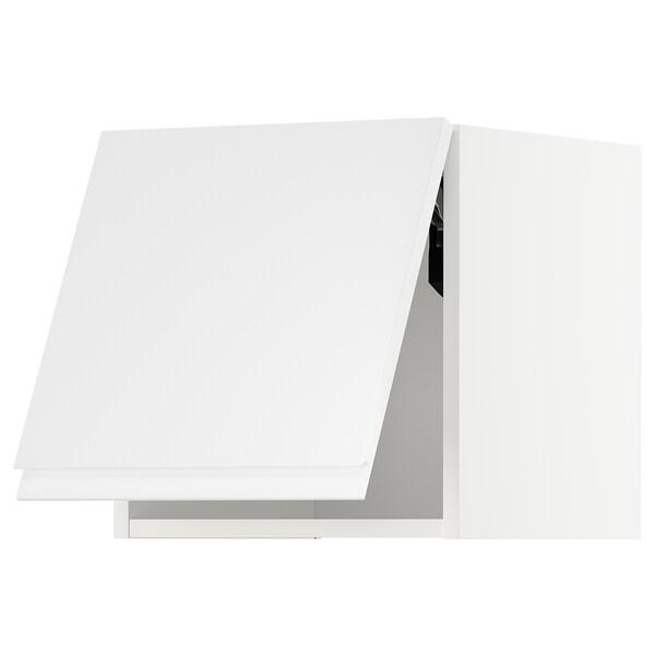 METOD Faliszekrény, vízszintesen nyíló, fehér/Voxtorp mfényű feh., 40x40 cm