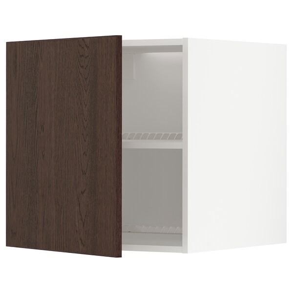 METOD Felsőszekrény hűtőhöz/fagyasztóhoz, fehér/Sinarp barna, 60x60 cm