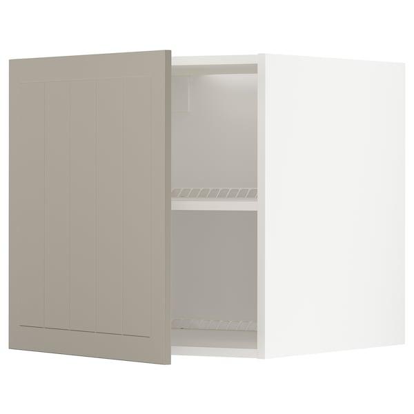 METOD Felsőszekrény hűtőhöz/fagyasztóhoz, fehér/Stensund bézs, 60x60 cm