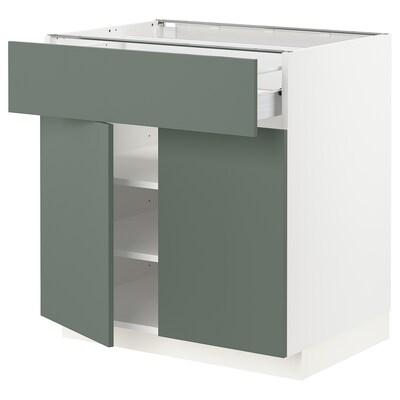 METOD / FÖRVARA alsószekrény fiókkal/2 ajtóval fehér/Bodarp szürke-zöld 80.0 cm 61.6 cm 88.0 cm 60.0 cm 80.0 cm
