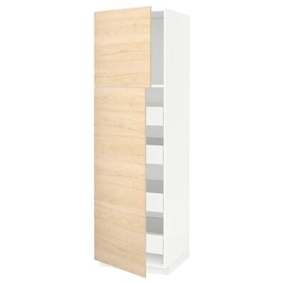 METOD / FÖRVARA magasszekrény 2 ajtóval/4 fiókkal fehér/Askersund világoskőris hatású 60.0 cm 61.6 cm 208.0 cm 60.0 cm 200.0 cm