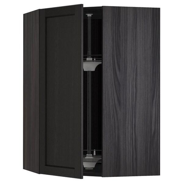 METOD Forgótárolós faliszekrény, fekete/Lerhyttan feketére pácolt, 68x100 cm