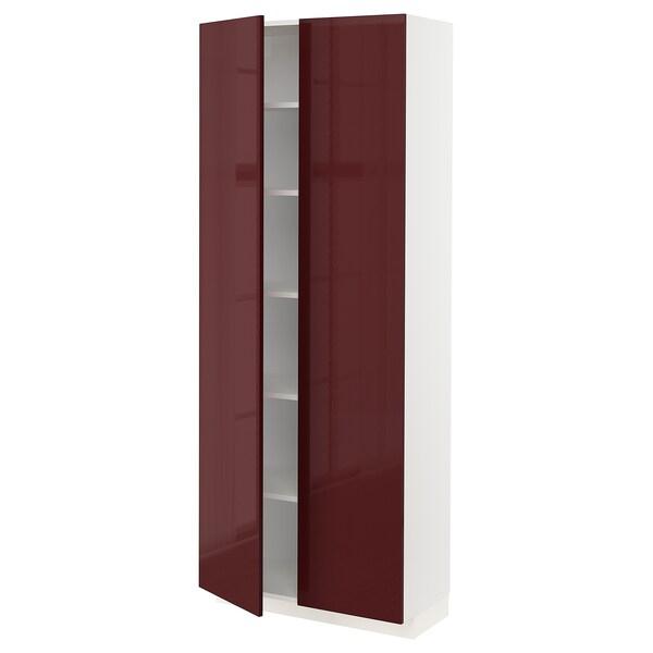 METOD Magas szekrény+polcok, fehér Kallarp/mfényű sötét vörösesbarna, 80x37x200 cm