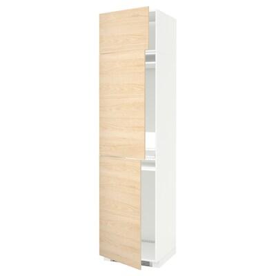 METOD Magasszekrény hűth/fagyh+3 ajtó, fehér/Askersund világoskőris hatású, 60x60x240 cm