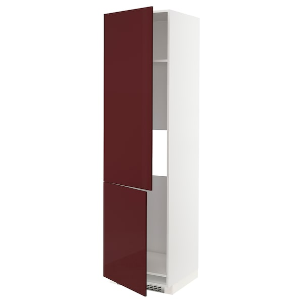METOD Magasszekrény hűtő/fagy-hoz, 2 ajtó, fehér Kallarp/mfényű sötét vörösesbarna, 60x60x220 cm