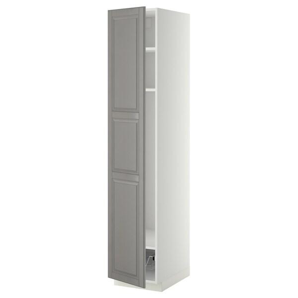 METOD Magasszekrény+polcok/drótkosár, fehér/Bodbyn szürke, 40x60x200 cm