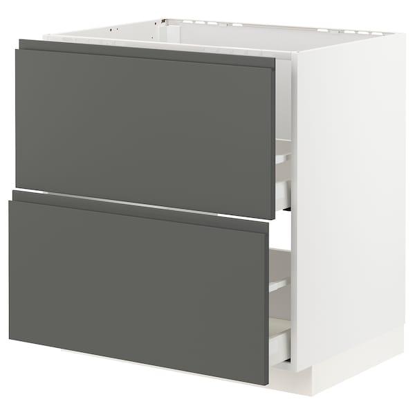 METOD / MAXIMERA Al.szekr.mosogh/2előlap/2fiók, fehér/Voxtorp sszürke, 80x60 cm