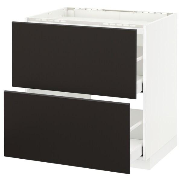 METOD / MAXIMERA Al.szekr.tűzh/2előlap/2fiók, fehér/Kungsbacka antracit, 80x60 cm