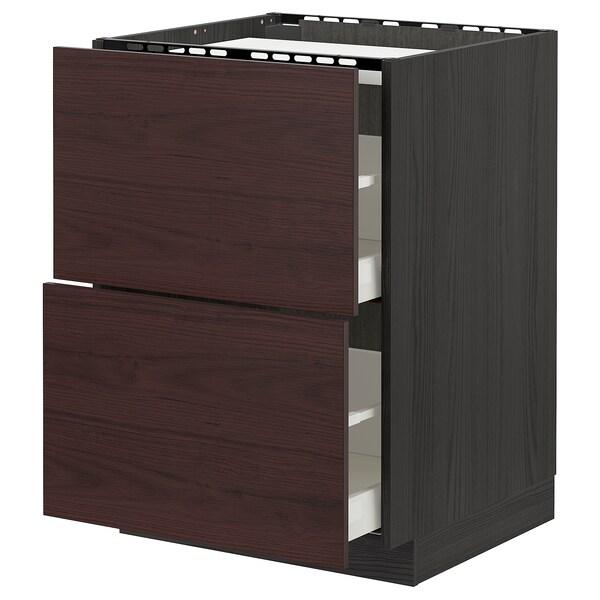 METOD / MAXIMERA Al.szekr.tűzh/2előlap/2fiók, fekete Askersund/sötétbarna kőris hatású, 60x60 cm