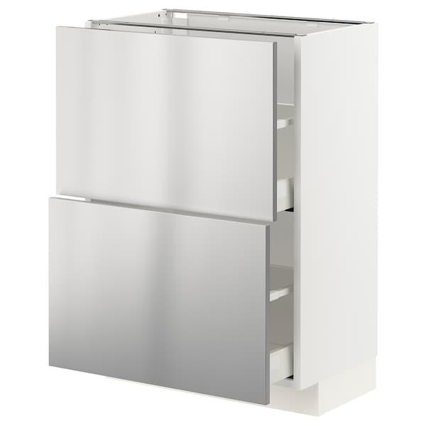 METOD / MAXIMERA Alapszekrény+2 fiók, fehér/Vårsta rozsdamentes, 60x37 cm