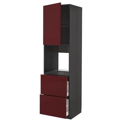 METOD / MAXIMERA Állószekr.sütőh,ajt/2elől/2ffiók, fekete Kallarp/mfényű sötét vörösesbarna, 60x60x220 cm