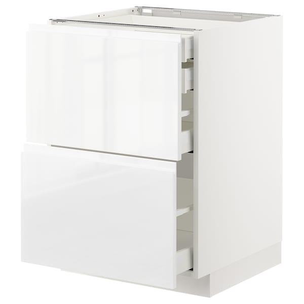 METOD / MAXIMERA Alsószek 2elől/2al/1kp/1felfiók, fehér/Voxtorp mfényű feh., 60x60 cm