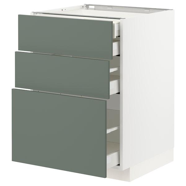 METOD / MAXIMERA Alsószekr 3elap/2al/1k/1mfiók, fehér/Bodarp szürke-zöld, 60x60 cm